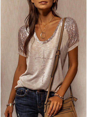 Sequins Letter Round Neck Short Sleeves T-shirts