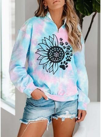 Floral Tie Dye Lapel Long Sleeves Sweatshirt