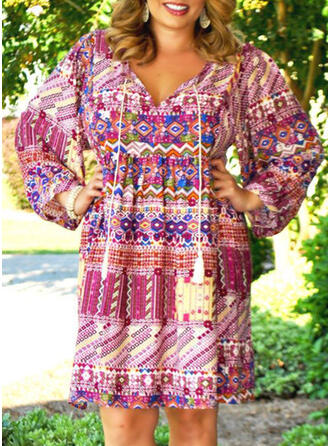 Plus Size Print Long Sleeves Shift Knee Length Boho Casual Vacation Dress