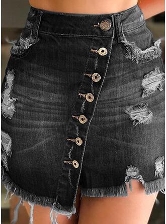 Polyester Patchwork Perlée Au-dessus du genou Jupes trapèze