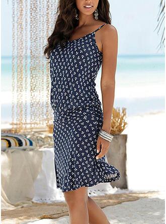 PolkaDot Sleeveless Sheath Knee Length Casual/Vacation Tank Dresses
