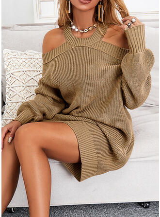 Sólido Manga Comprida manga de ombro fria Vestidos soltos Comprimento do joelho Casual Suéter Vestidos