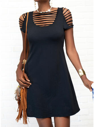 Solid/Hollow-out Short Sleeves A-line Above Knee Little Black/Casual Skater Dresses