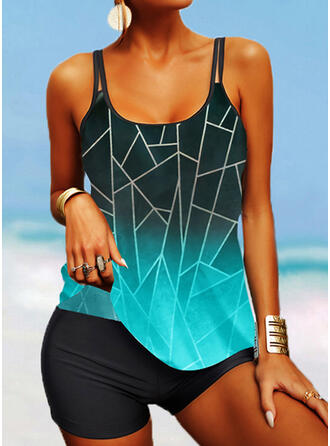 Stripe Splice color Strap U-Neck Plus Size Boho Tankinis Swimsuits