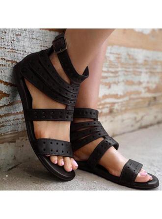 Femmes PU Talon plat Sandales À bout ouvert avec Ouvertes Couleur unie chaussures