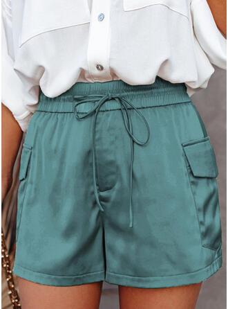 Solid Pockets Elegant Solid Shorts