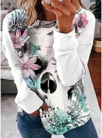 Impresión Floral Cuello Redondo Manga Larga Sudadera