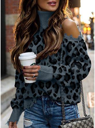 Leopard Turtleneck Cold Shoulder Casual Sweaters