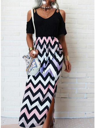 Print Short Sleeves Sheath Casual/Vacation Maxi Dresses
