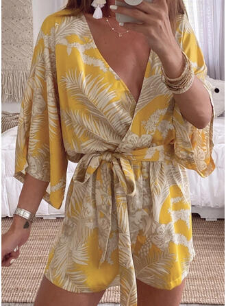 Floral Print V-Neck 3/4 Sleeves Casual Vacation Romper