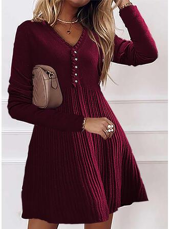 Long Sleeves Cold Shoulder Sleeve Bodycon Elegant Midi Dresses