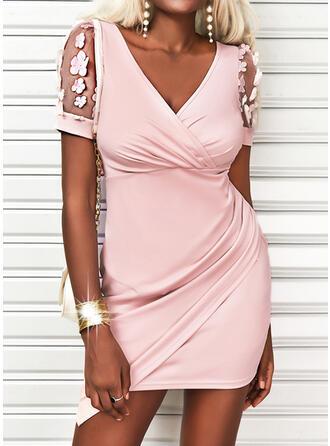 Solid Short Sleeves Sheath Above Knee Casual/Elegant Wrap Dresses