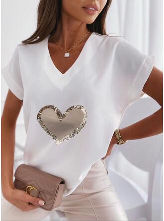Cœur Imprimé Col V Manches Courtes T-shirts
