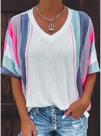 Color Block Print V-Neck 1/2 Sleeves T-shirts