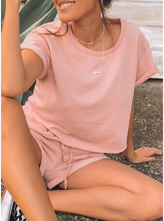 Round Neck Short Sleeves Solid Color Attractive Top & Short Sets