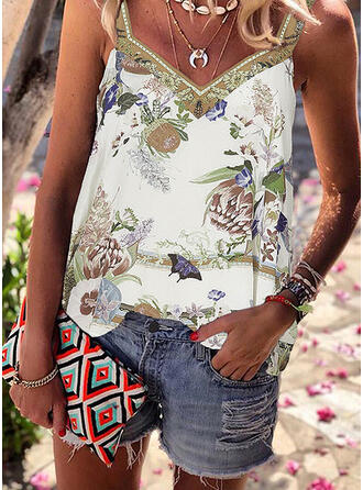 Animal Print Floral Strap Sleeveless Tank Tops