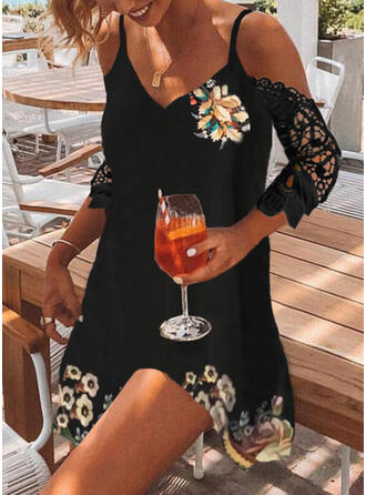 Lace/Print/Floral 3/4 Sleeves Shift Above Knee Casual Tunic Dresses