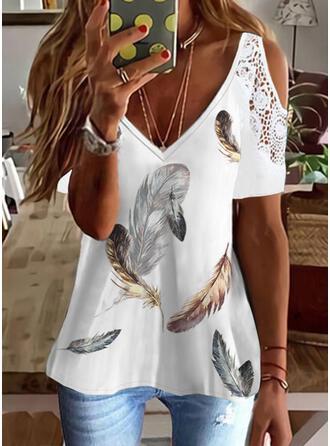 Print Lace Cold Shoulder Short Sleeves Cold Shoulder Sleeve Elegant Blouses