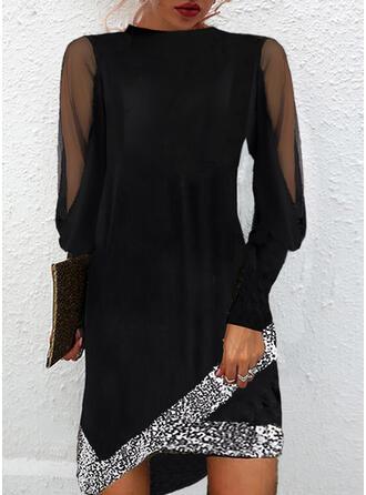 Solid Sequins Long Sleeves Shift Above Knee Little Black/Elegant Dresses