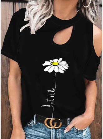 Print Floral Letter One Shoulder Short Sleeves Casual Blouses
