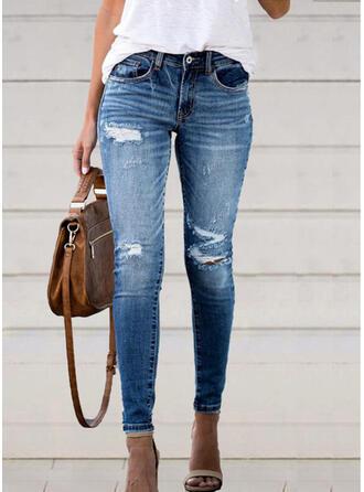 Coton Treillis Longue Décontractée Poche déchiré Boutons Pantalon Jeans