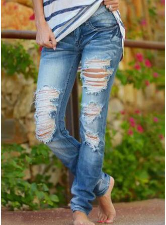 Couleur Unie Coton Longue Décontractée Ancien Grande taille Poche Bourré déchiré Pantalon Jeans