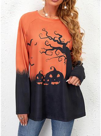 Halloween Imprimé Bloc de Couleur Col Rond Manches Longues Sweat-shirts