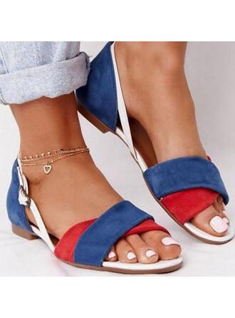 Femmes PU Talon bas Sandales À bout ouvert avec Boucle Entrecroisement chaussures