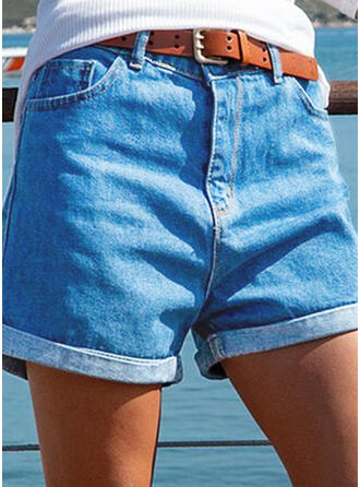 Couleur Unie Coton Au-dessus du genou Ancien Grande taille Poche Bourré Pantalon Short Jeans