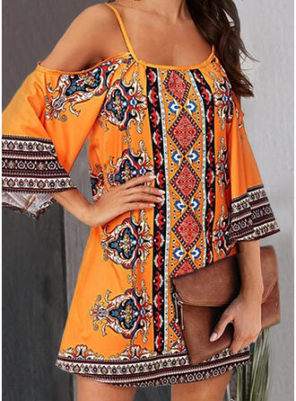 Plus Size Print 3/4 Sleeves Shift Above Knee Boho Casual Vacation Dress