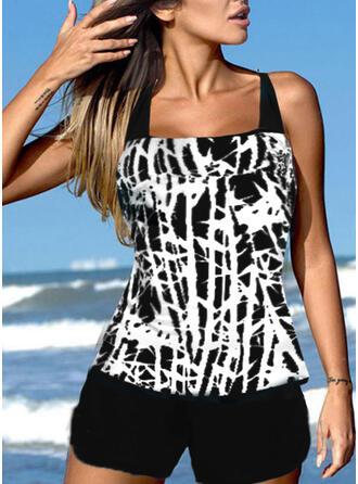 Stripe Splice color Strap U-Neck Plus Size Retro Boho Tankinis Swimsuits