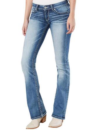 Shirred Long Casual Long Denim Pants