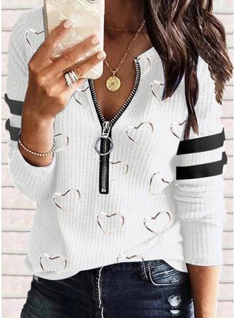 Color Block Heart Print V-Neck Long Sleeves T-shirts