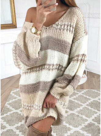 Color Block Chunky knit V-Neck Casual Long Sweater Dress