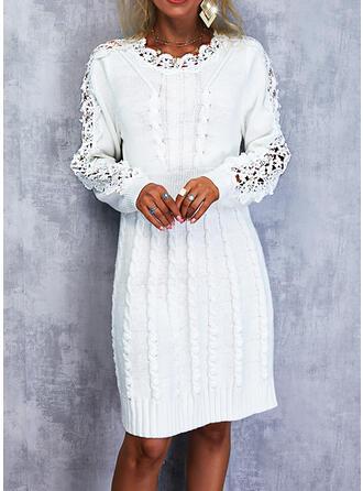 Sólido Renda Manga Comprida Vestidos soltos Acima do Joelho Elegante Suéter Vestidos