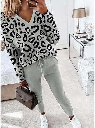 Leopardo Casual Tamanho positivo blusa & Roupas de Duas Peças Set ()