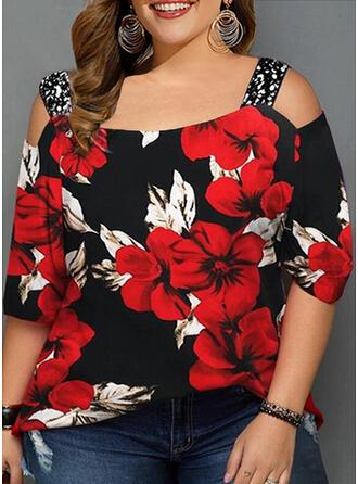 Floral Estampado lantejoulas Ombro Frio Manga 3/4 Casual camiseta