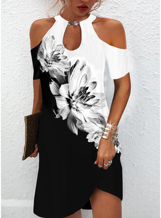 Print/Floral/Color Block Short Sleeves Cold Shoulder Sleeve Shift Above Knee Casual Tunic Dresses