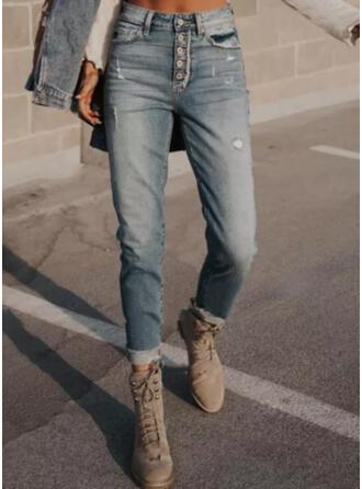 Couleur Unie Treillis Longue Décontractée Ancien Grande taille Poche Boutons Jeans