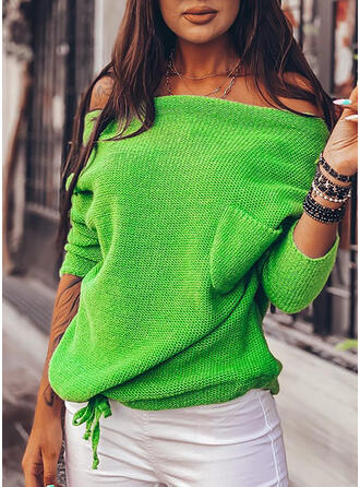 Solid Pocket Off the Shoulder Casual Sweaters