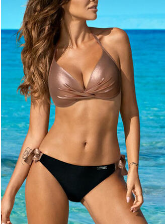 Couleur Unie Triangle Dos Nu Col V Sexy Élégante Bikinis Maillots De Bain