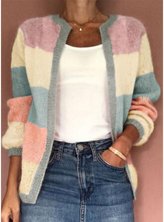 Polyester Manches longues Couleurs Opposées Cardigans