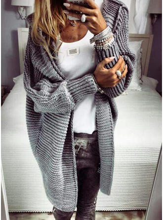 Solid Ribbed Hooded Casual Long Cardigan