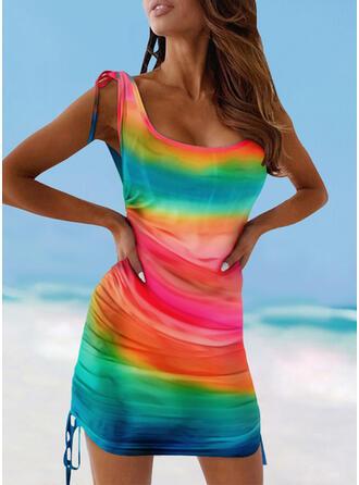 Colorido Cordão Cinta Decote em U Sexy Túnicas Maiôs